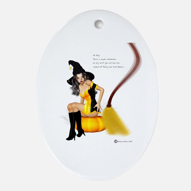 A Witches Broom Oval Ornament