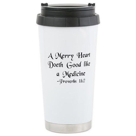 """A Merry Heart"" Stainless Steel Travel Mug"