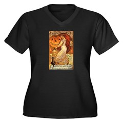 Pumpkin Head Women's Plus Size V-Neck Dark T-Shirt