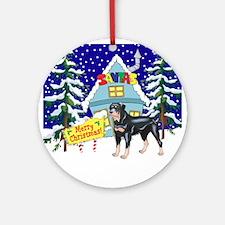 Santas Place Rottweiler Ornament (Round)