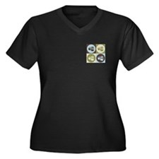 Sushi Pop Art Women's Plus Size V-Neck Dark T-Shir