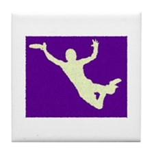 PAINTED PURPLE YELLOW DISC CATCH Tile Coaster