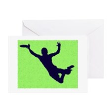 PAINTED GREEN BLUE DISC CATCH Greeting Card
