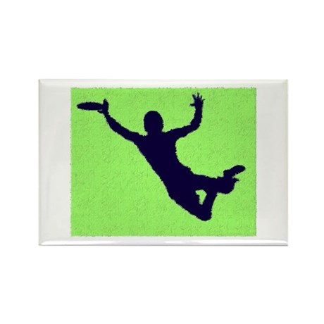 PAINTED GREEN BLUE DISC CATCH Rectangle Magnet