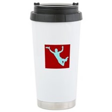PAINTED RED WHITE DISC CATCH Travel Mug