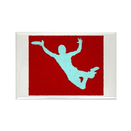 PAINTED RED WHITE DISC CATCH Rectangle Magnet