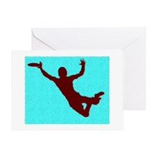PAINTED BLUE RED DISC CATCH Greeting Card