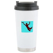 PAINTED BLUE RED DISC CATCH Travel Mug