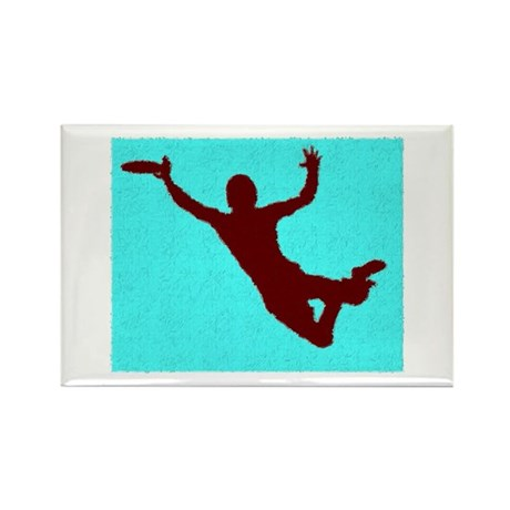 PAINTED BLUE RED DISC CATCH Rectangle Magnet