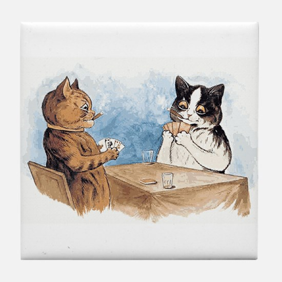 Poker playing Cats Tile Coaster