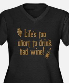 Life Short Bad Wine Women's Plus Size V-Neck Dark