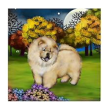 CREAM CHOW CHOW DOG FALL MOON Tile Coaster