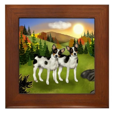 RAT TERRIER DOGS FALL SUNSET Framed Tile