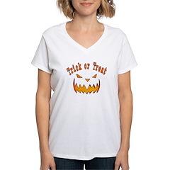 Evil Jack O Lantern Face Women's V-Neck T-Shirt