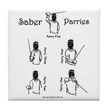 Cute Saber fencing Tile Coaster