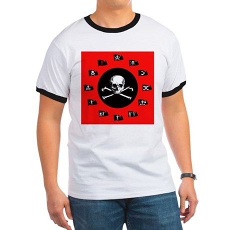 Red Pirate- Jolly Roger Ringer T