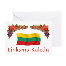 Lithuania Linksmu Kaledu 2 Greeting Cards (Pk of 1
