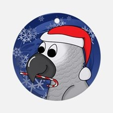 Candy Cane African Grey Christmas Ornament
