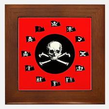 Red Pirate- Jolly Roger Framed Tile