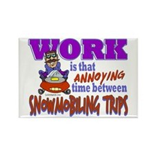 Work vs Snowmobiling Trips Rectangle Magnet
