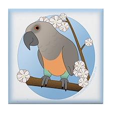 Flower Red Bellied Parrot Tile Coaster