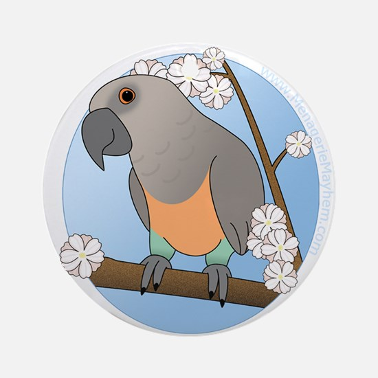 Flower Red Bellied Parrot Ornament (Round)