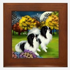 JAPANESE CHIN DOGS FALL MOON Framed Tile