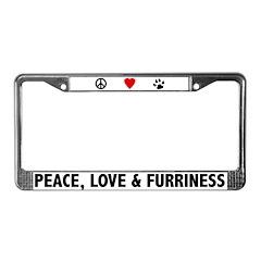 Peace Love & Furriness License Plate Frame