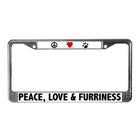 Peace Love & Furriness License Plate Frame