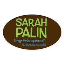 Inexperienced Palin Oval Bumper Decal
