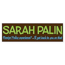 Inexperienced Palin Bumper Bumper Sticker