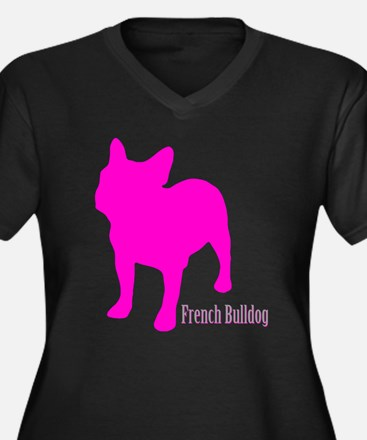 Cute Frenchies Women's Plus Size V-Neck Dark T-Shirt