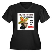 QUE PASA B.O. Women's Plus Size V-Neck Dark T-Shir