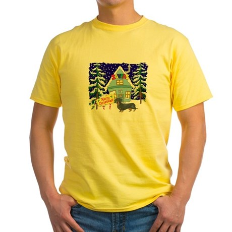 Santas Place Dachshund Yellow T-Shirt