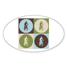 Mountain Biking Pop Art Oval Decal