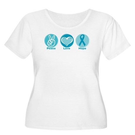Peace Love Teal Hope Women's Plus Size Scoop Neck