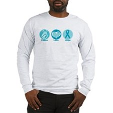 Peace Love Teal Hope Long Sleeve T-Shirt
