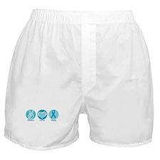 Peace Love Teal Hope Boxer Shorts