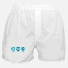 Peace Love Teal Hope Boxer Shorts