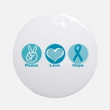 Peace Love Teal Hope Ornament (Round)