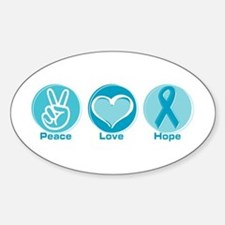 Peace Love Teal Hope Oval Decal