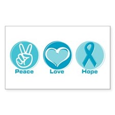 Peace Love Teal Hope Rectangle Decal