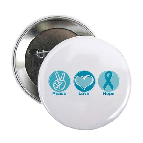 """Peace Love Teal Hope 2.25"""" Button (100 pack)"""