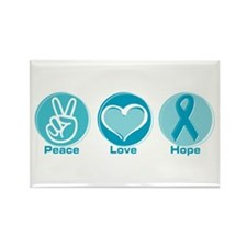 Peace Love Teal Hope Rectangle Magnet