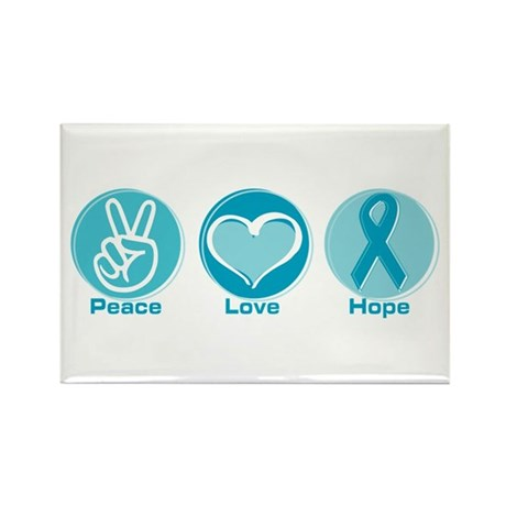 Peace Love Teal Hope Rectangle Magnet (100 pack)