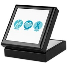 Peace Love Teal Hope Keepsake Box