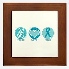 Peace Love Teal Hope Framed Tile