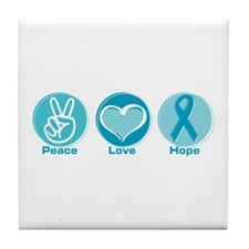 Peace Love Teal Hope Tile Coaster