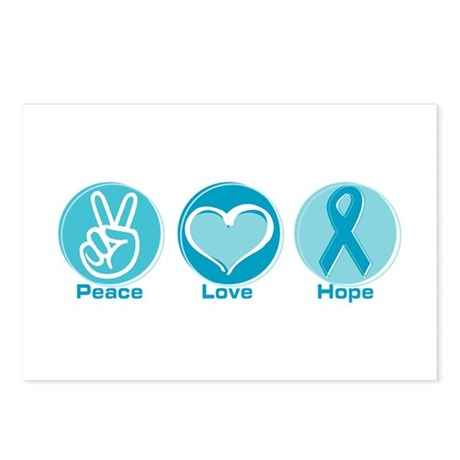 Peace Love Teal Hope Postcards (Package of 8)