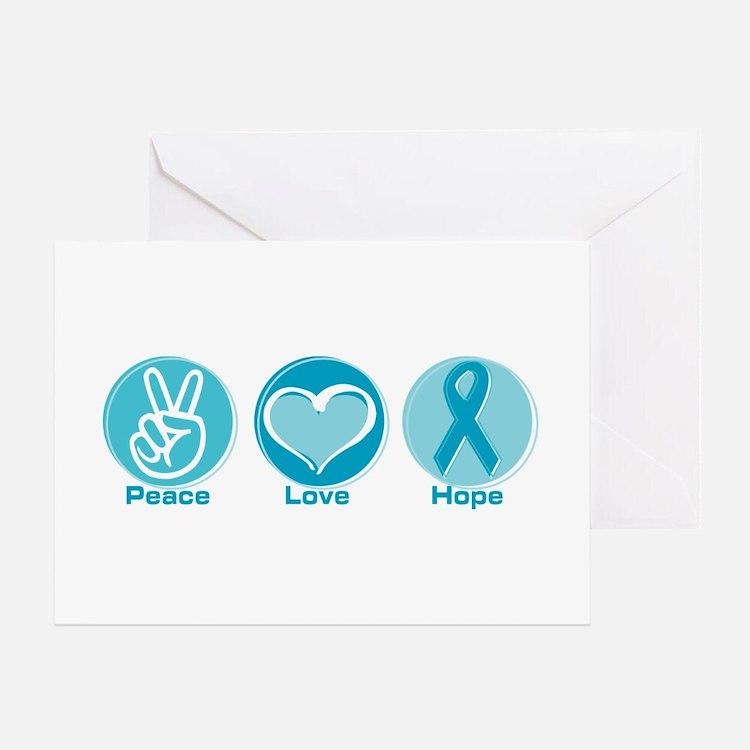 Peace Love Teal Hope Greeting Card